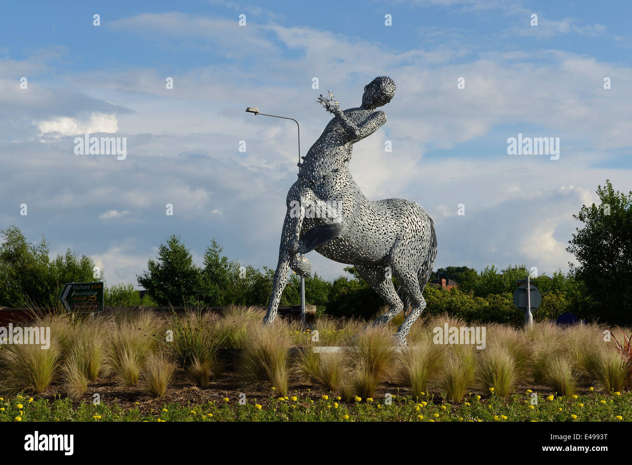 Uttoxeter public art sculpture of a Centaur by sculptor Andy Scott - Stock Image
