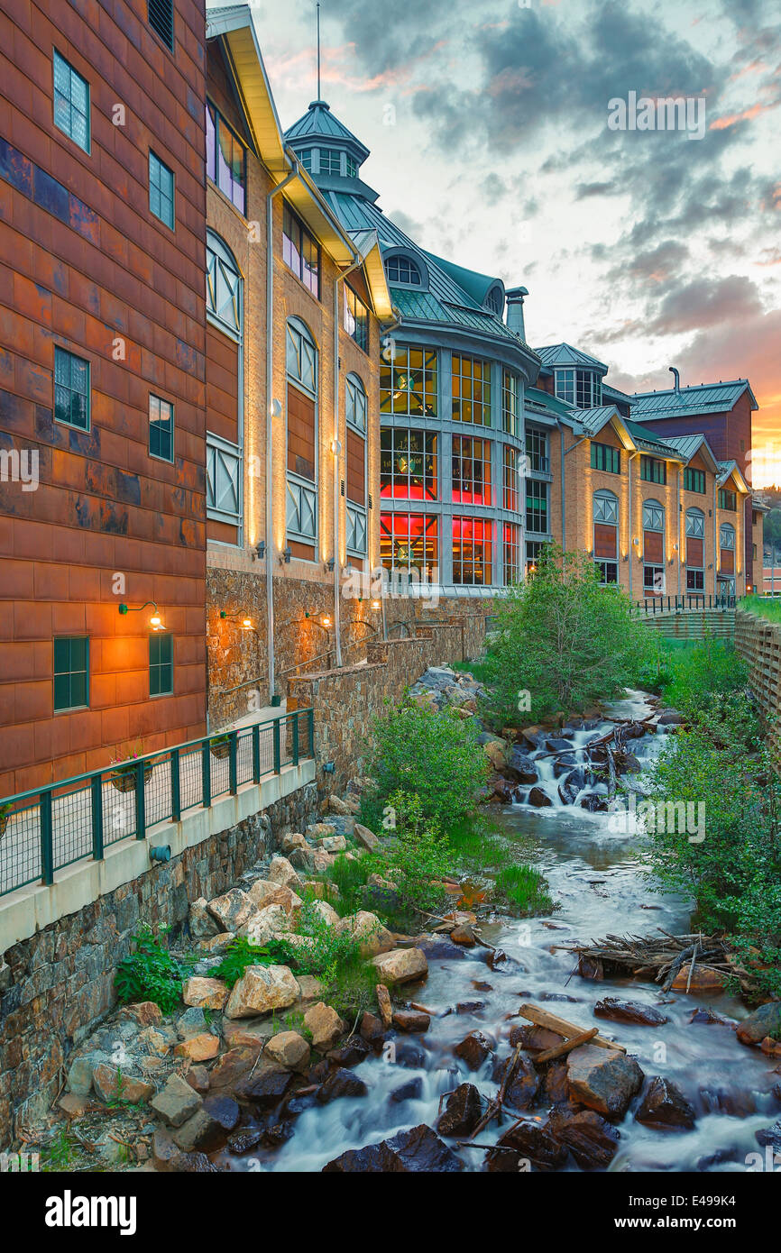 Lodge Casino and North Clear Creek, Black Hawk, Colorado USA - Stock Image