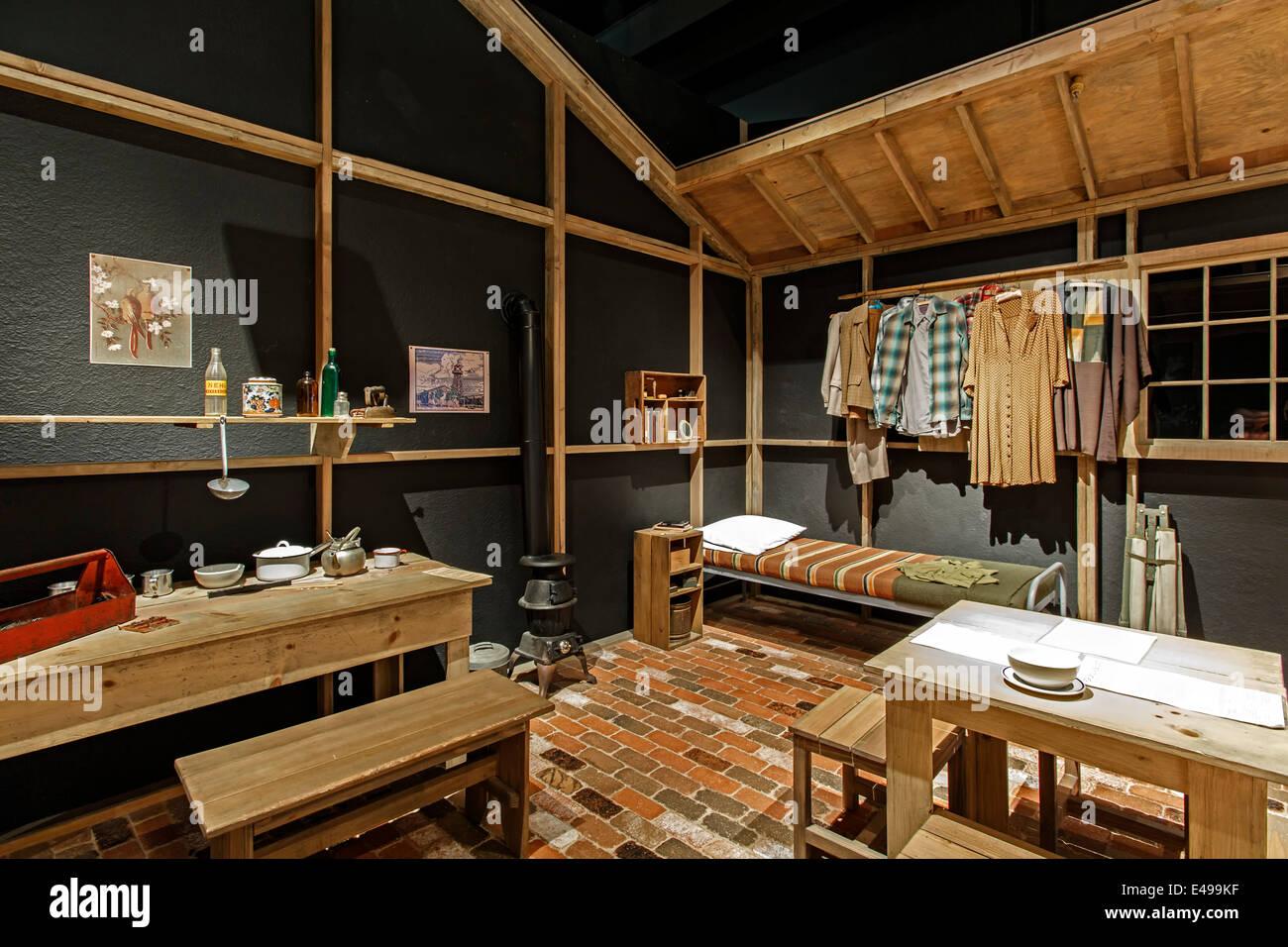 Re-creation of Japanese-American internment camp room, Colorado Stories Exhibit, History Colorado Center, Denver, - Stock Image