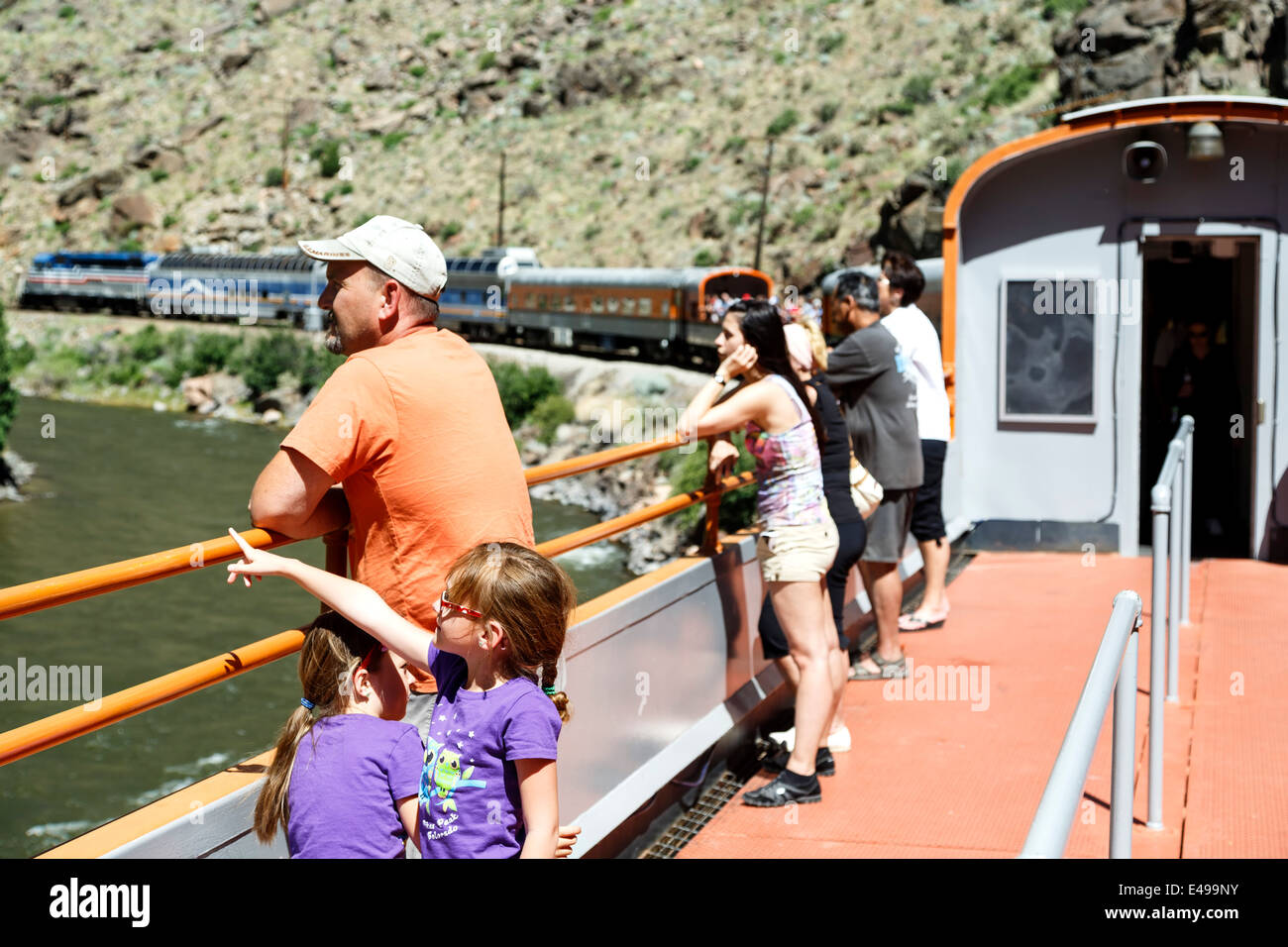 Passengers on open-air car, Royal Gorge Route Railroad, Canon City, Colorado USA - Stock Image