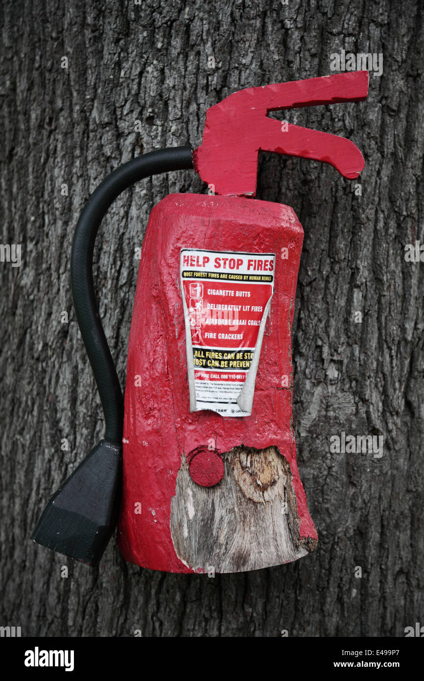 Mock fire extinguisher in the Rhodes Memorial hiking area, South Africa - Stock Image