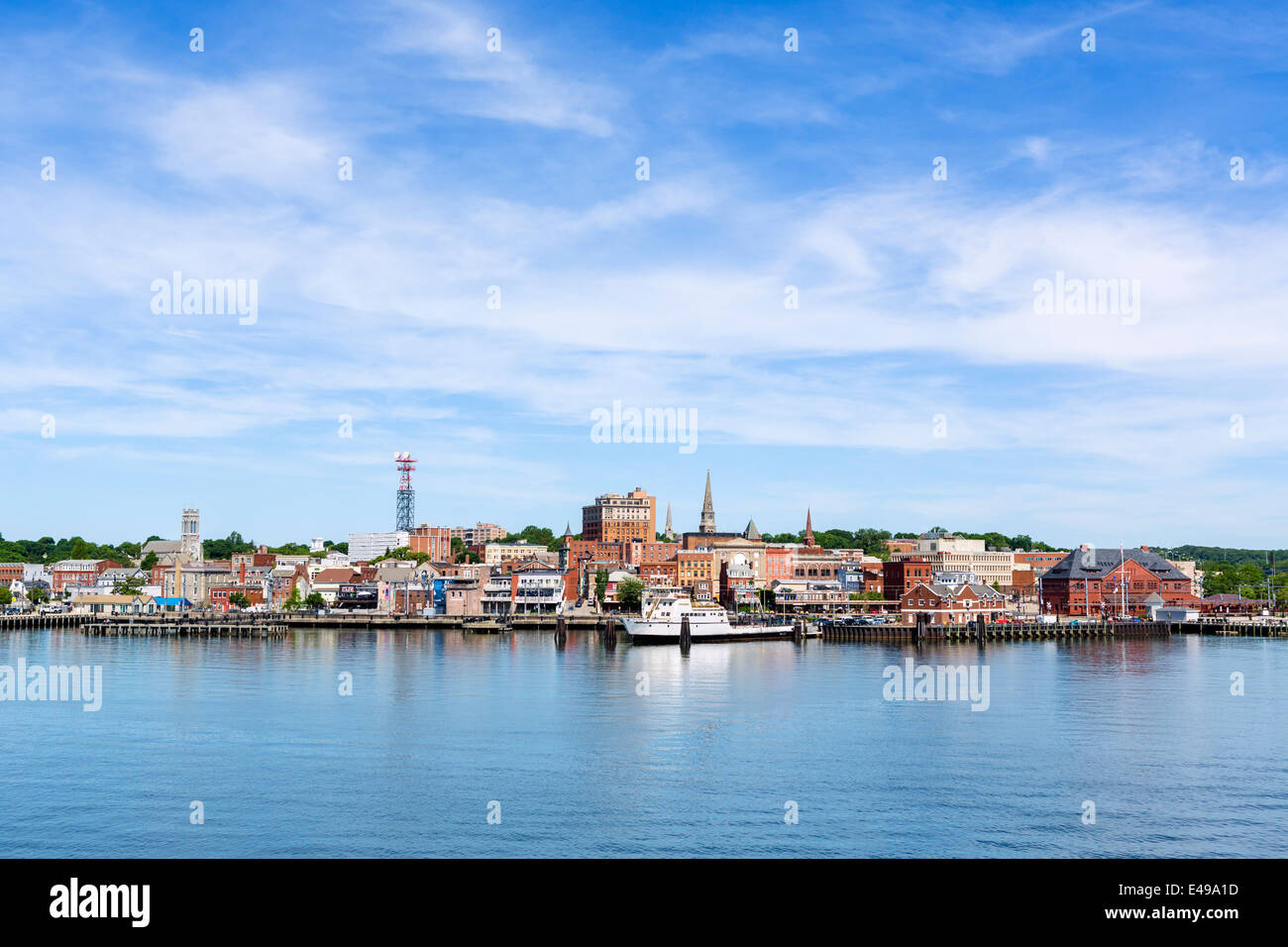 The waterfront in New London from the deck of the Cross Sound Ferry, Connecticut, USA - Stock Image