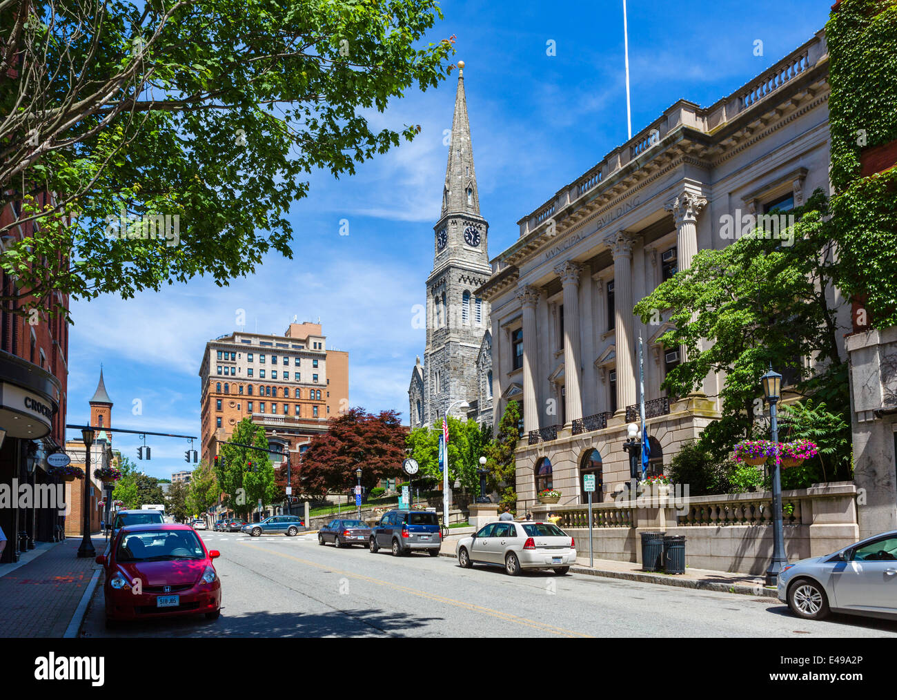 State Street in downtown New London, Connecticut, USA - Stock Image