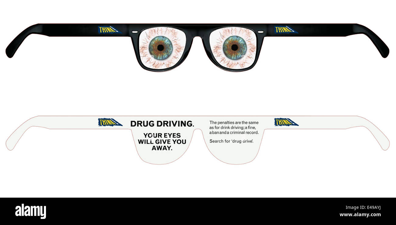 'Drug Driving. Your eyes will give you away. THINK!' Campaign launched in United Kingdom, 2009. Cannabis - Stock Image