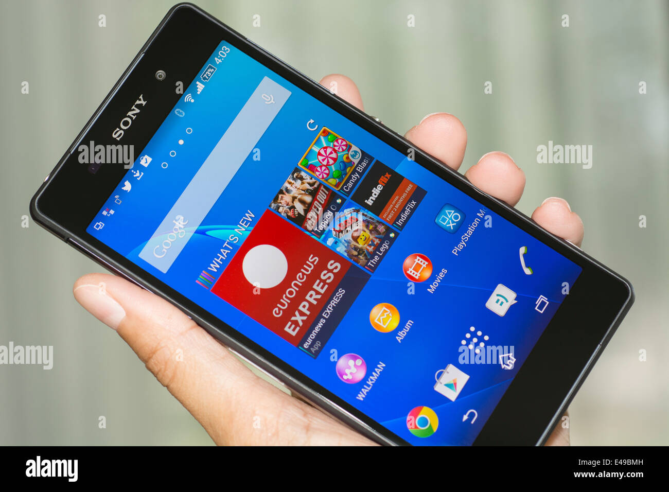 Hand holding Smartphone, Cell, Mobile Phone, Xperia Z2 - Stock Image