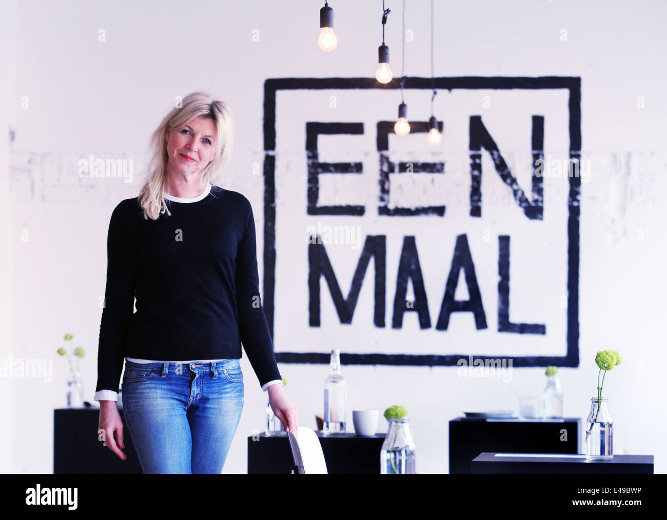 Marina van Goor founder and creator of the EENMAAL the first one-person restaurant in the world and an attractive - Stock Image
