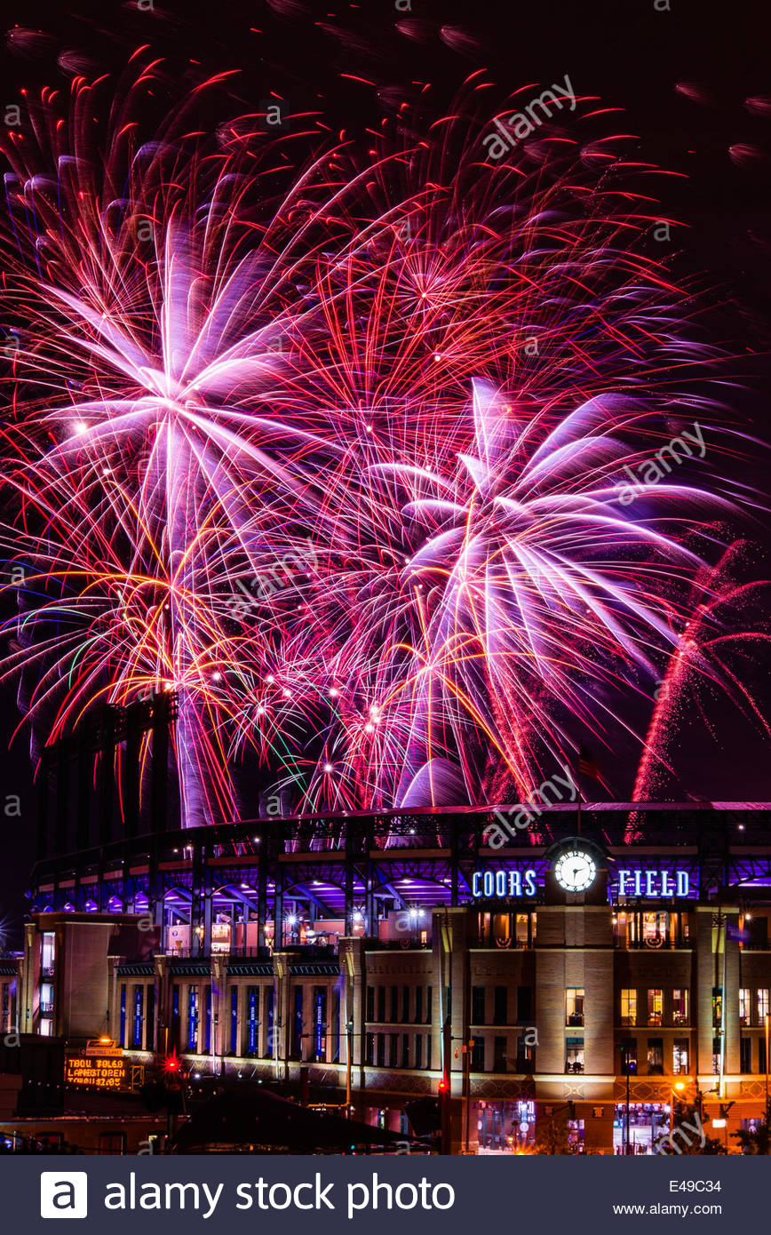 Fourth of July fireworks being fired from Coors Field (after a Colorado Rockies baseball game), Denver, Colorado Stock Photo