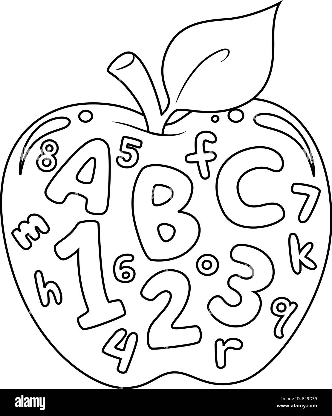 Coloring Book Illustration Featuring an Apple with Numbers and Stock ...