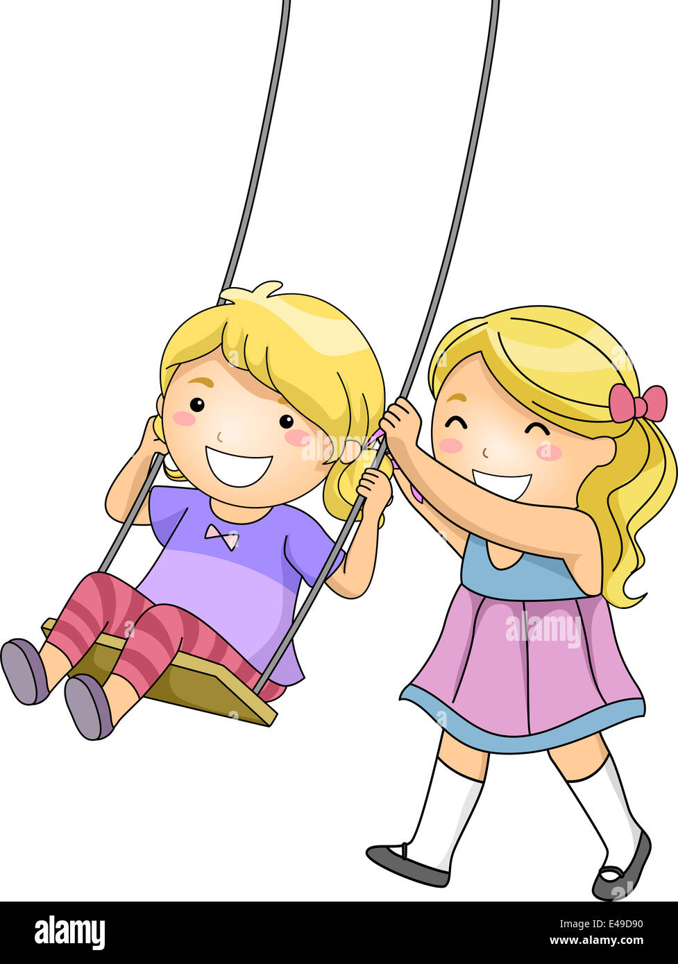 Illustration Of A Little Girl Pushing Her Sister On A Swing Stock