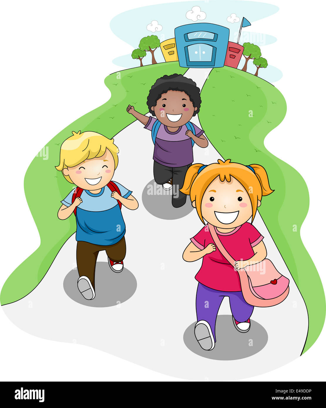 illustration of kids going home from school stock photo