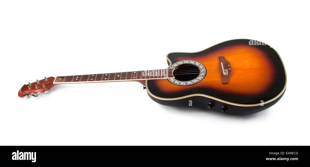 brown guitar isolated on white - Stock Image