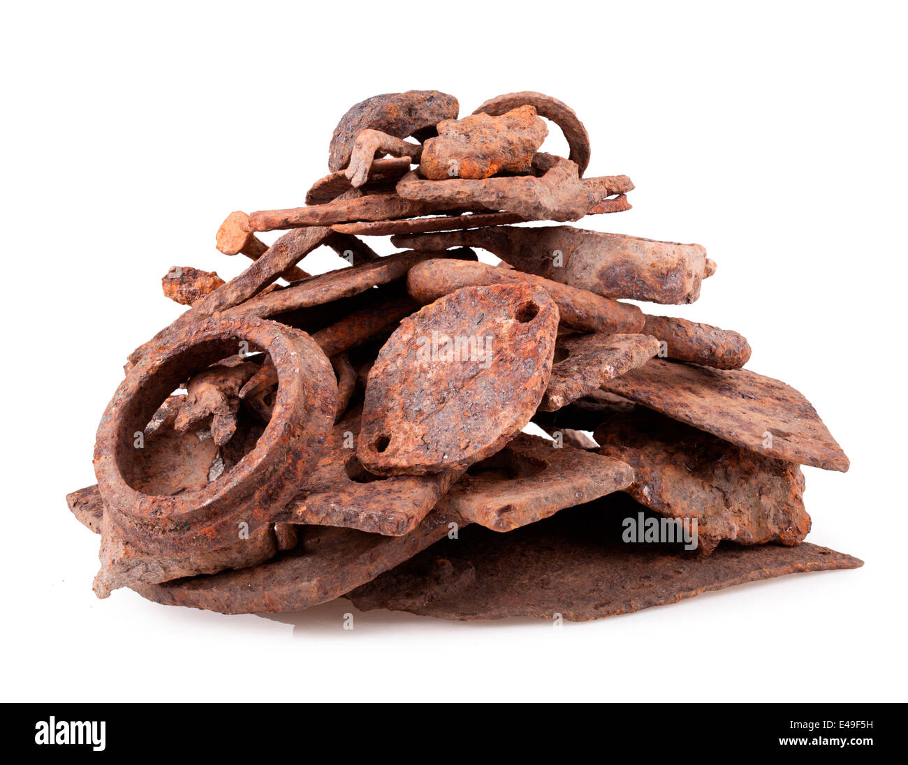 isolated on white background rusty iron scrap metal - Stock Image