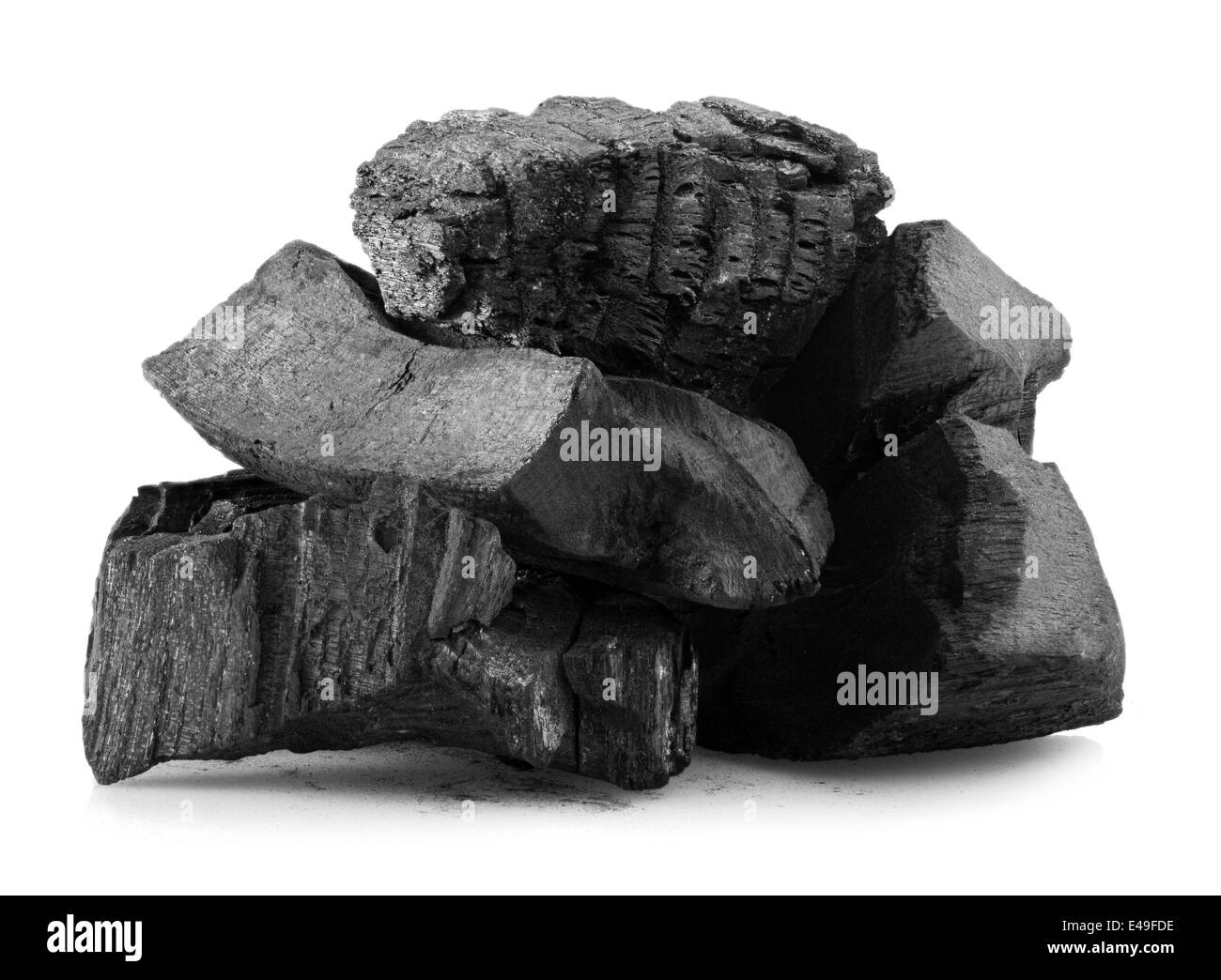 charcoal isolated on white background - Stock Image