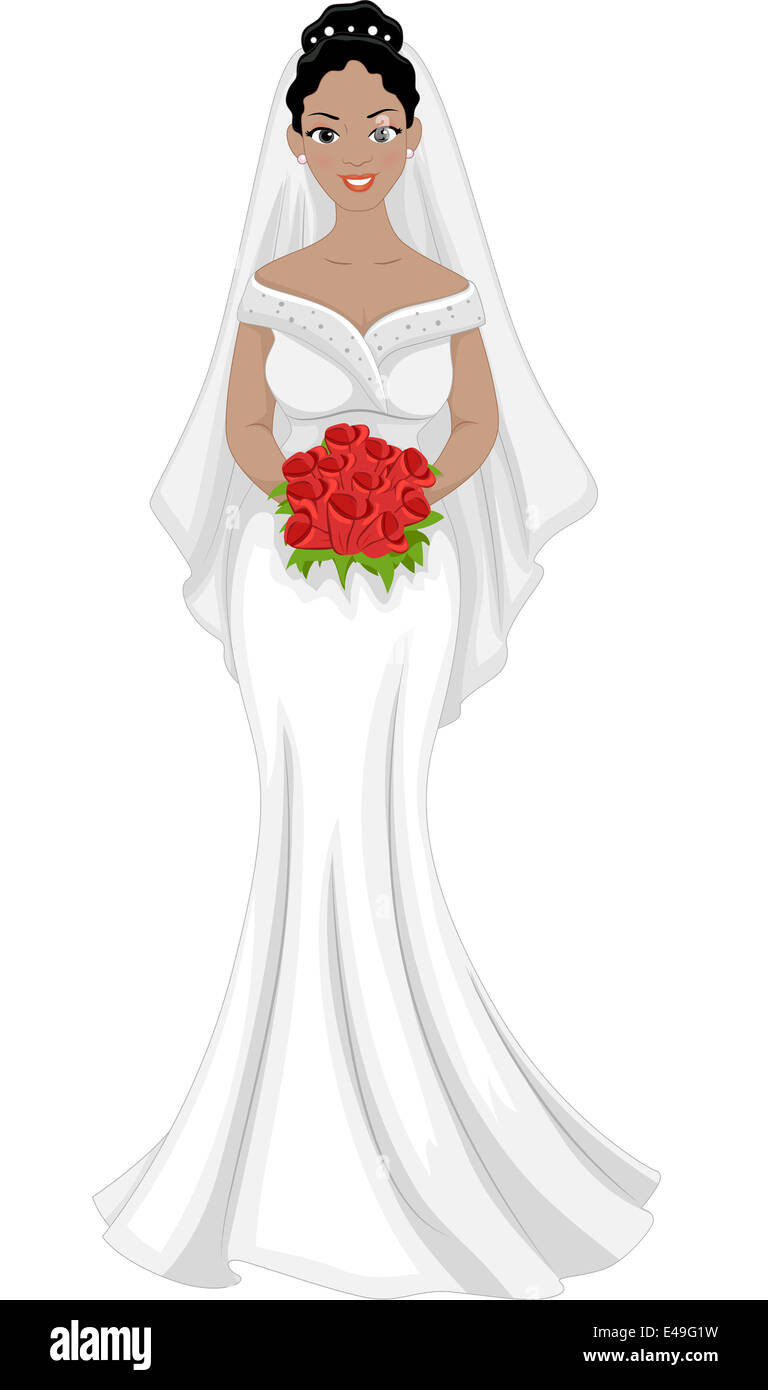 Illustration of a Lovely African-American Bride in Her Wedding Dress ...