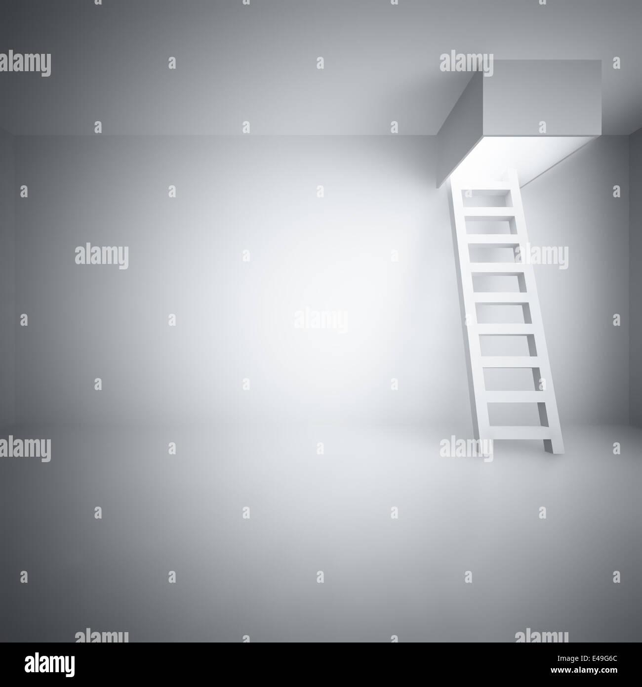 Ladder upwards in a light room - Stock Image