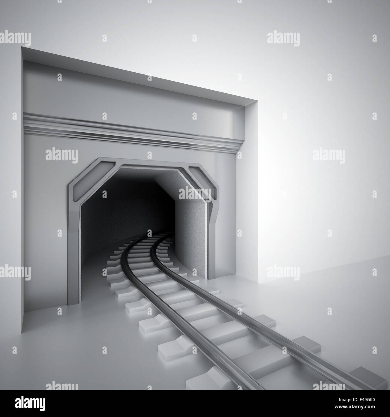 tunnel and metal railway leaving in darkness - Stock Image
