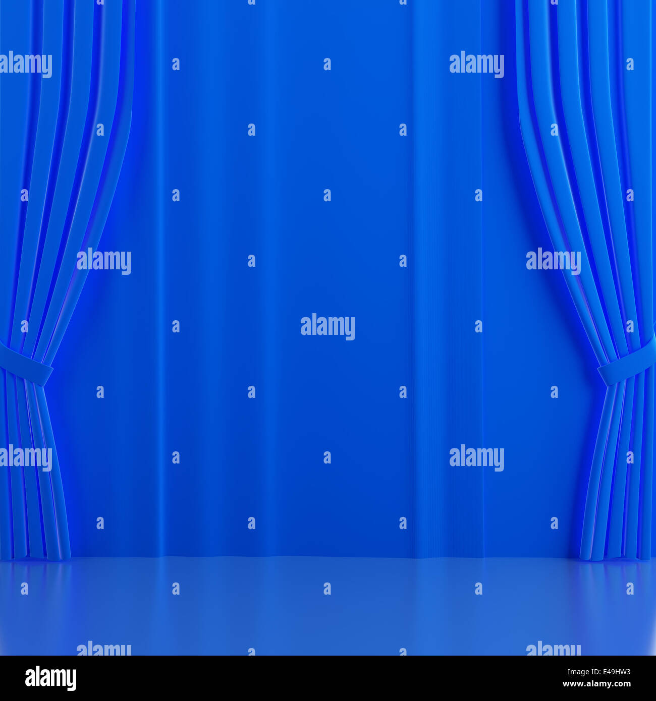 Brightly blue curtains on a theatrical scene - Stock Image