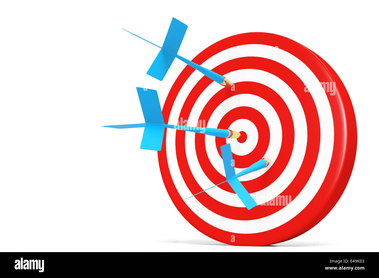 One darts accurate  in the target - Stock Image