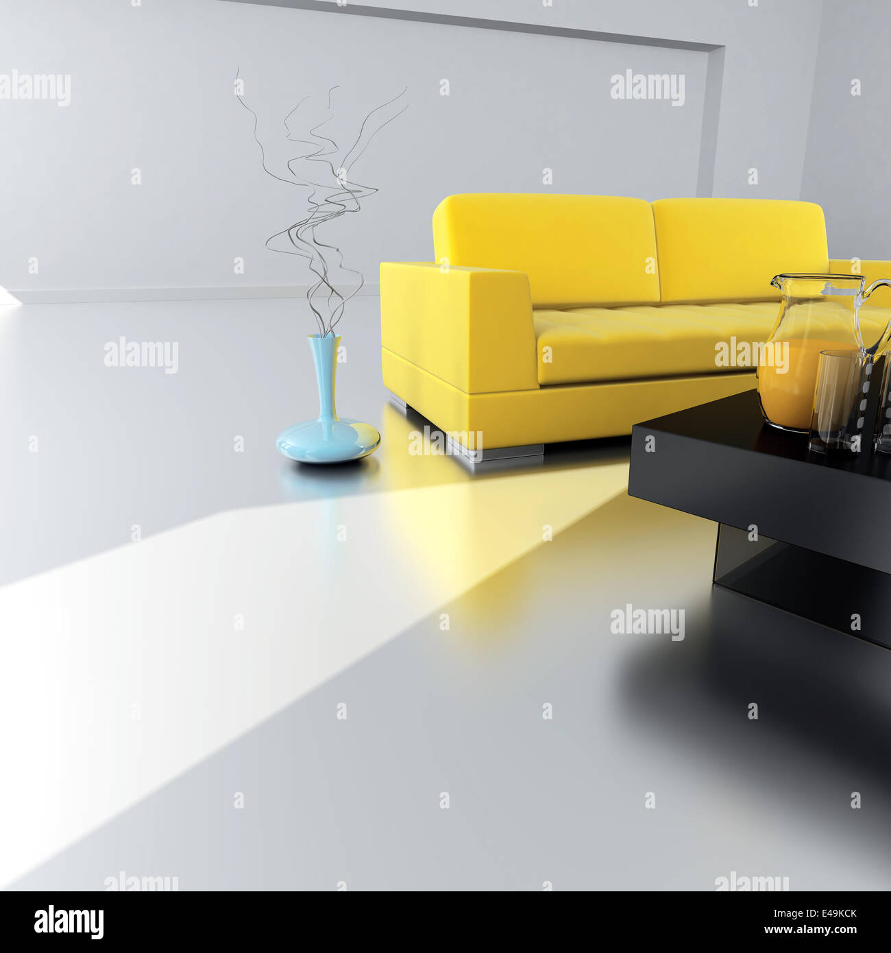 Yellow Sofa Is In An Empty Light Room   Stock Image