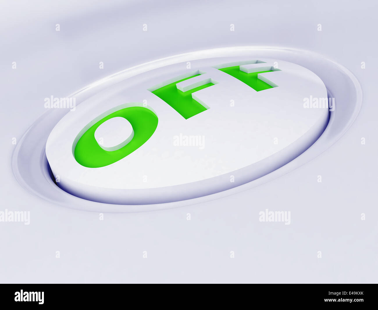 white plastic button with a green sign - Stock Image