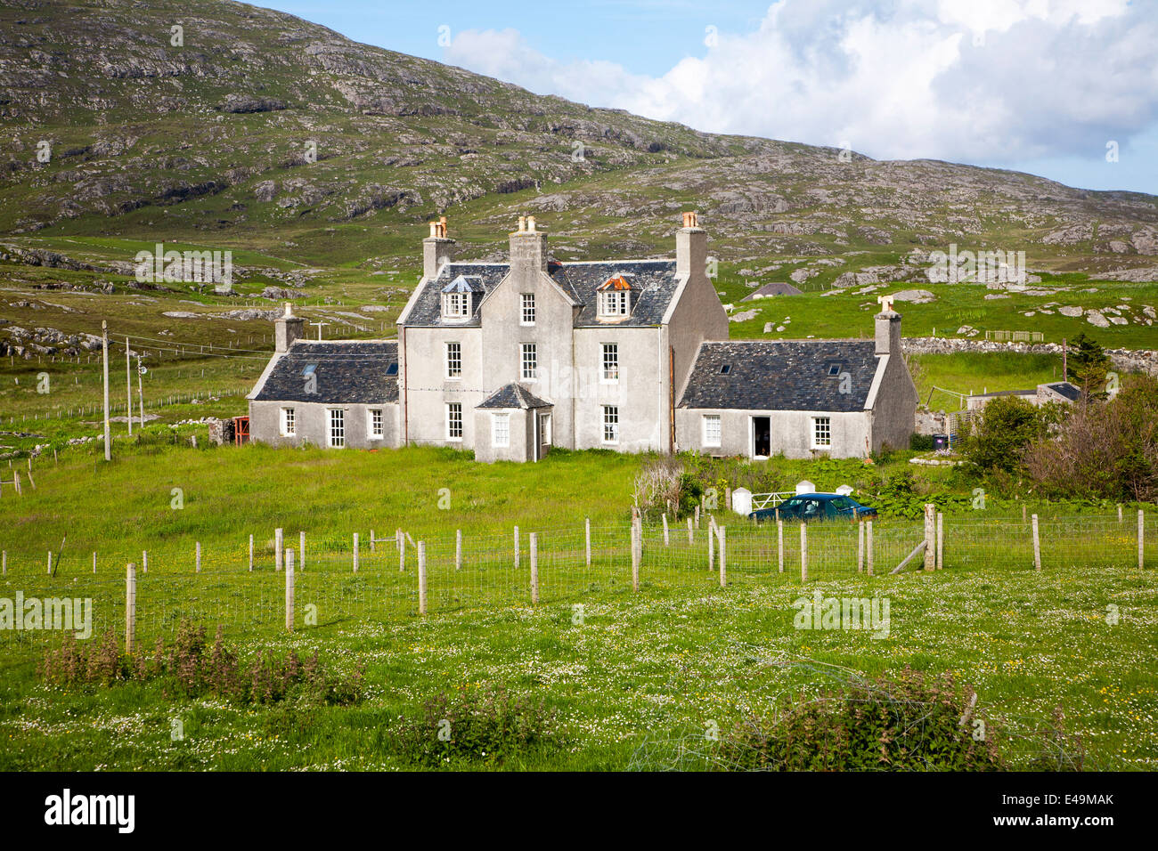 Historic Manse House Isle of Barra, Outer Hebrides, Scotland - Stock Image