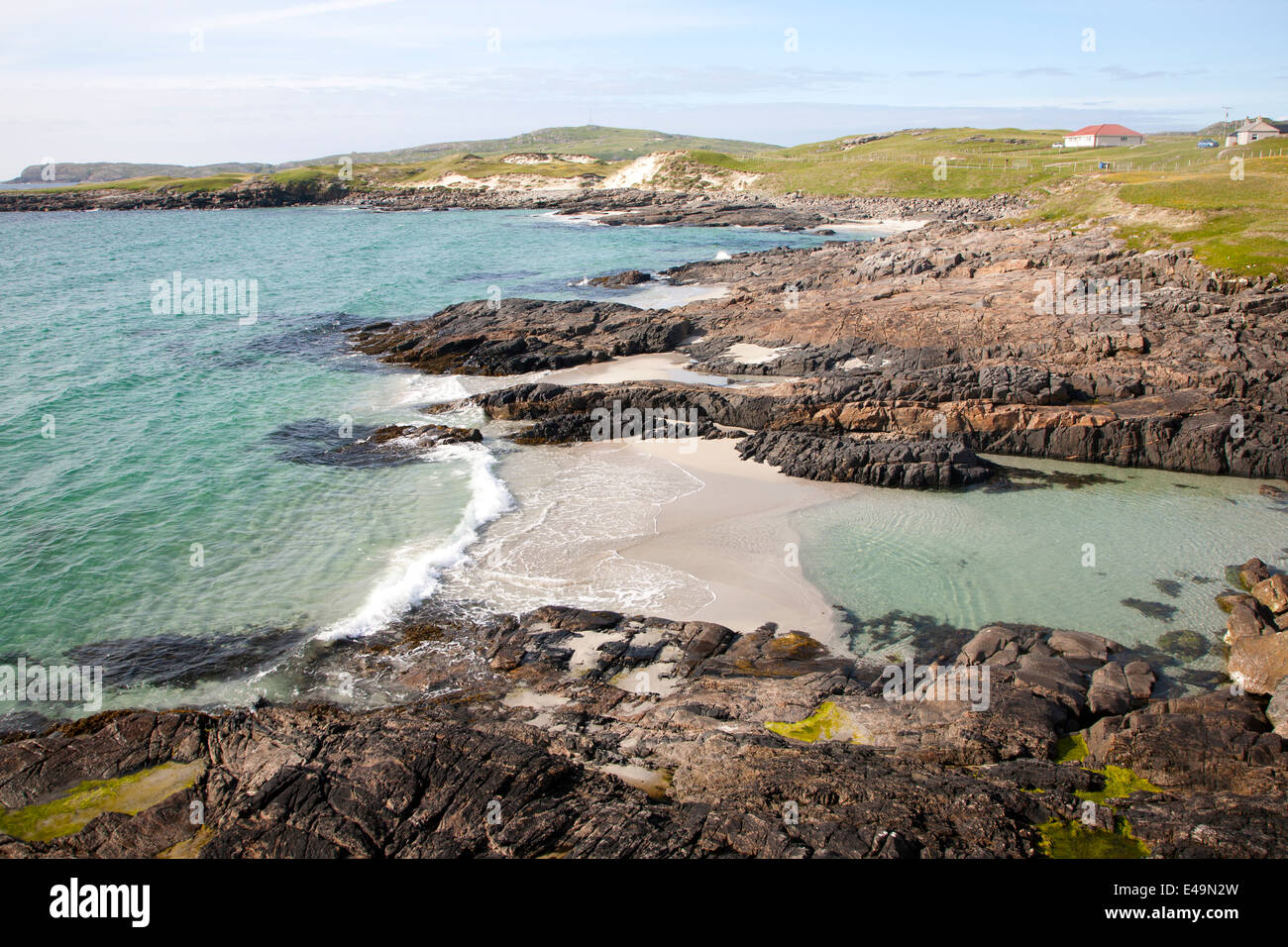 Atlantic coastline and sea Isle of Barra, Outer Hebrides, Scotland - Stock Image