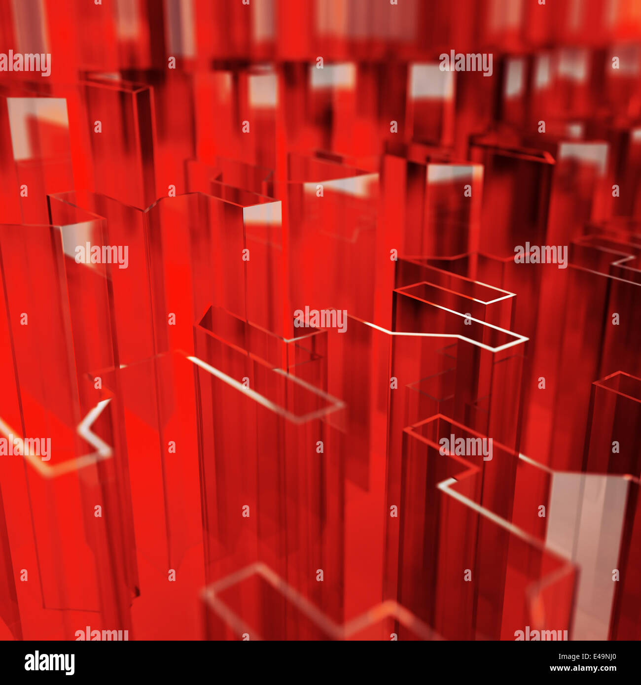 red glass acute angled abstraction - Stock Image