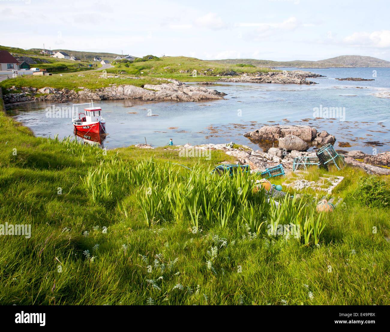 Fishing boat Isle of Barra, Outer Hebrides, Scotland - Stock Image