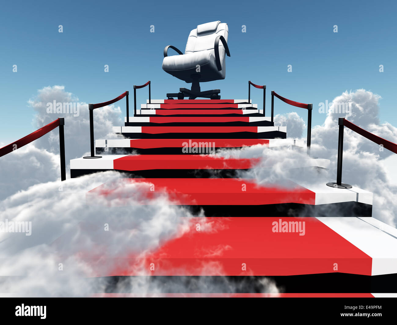 upwards stairs and modern armchair - Stock Image
