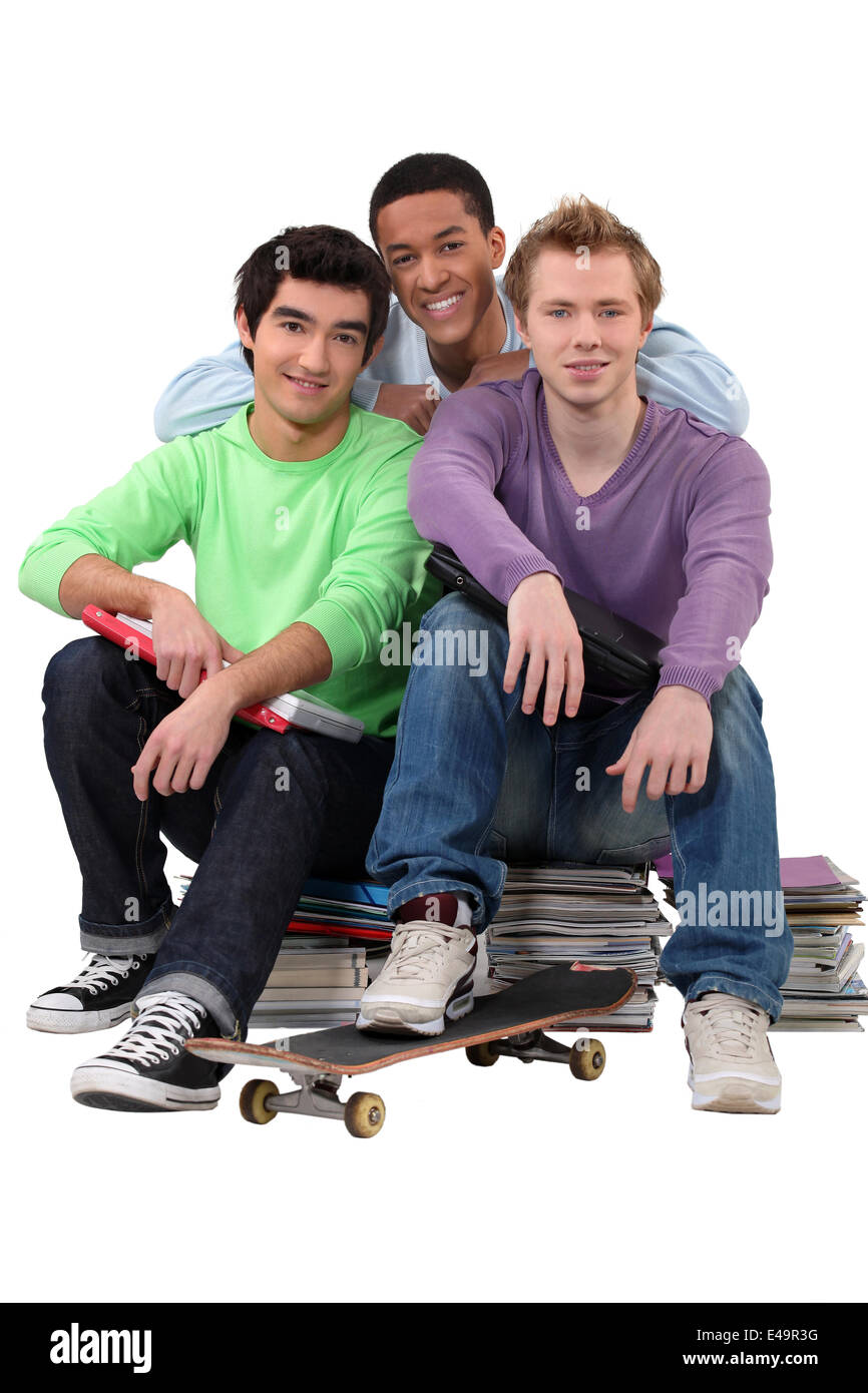 Group of male students - Stock Image