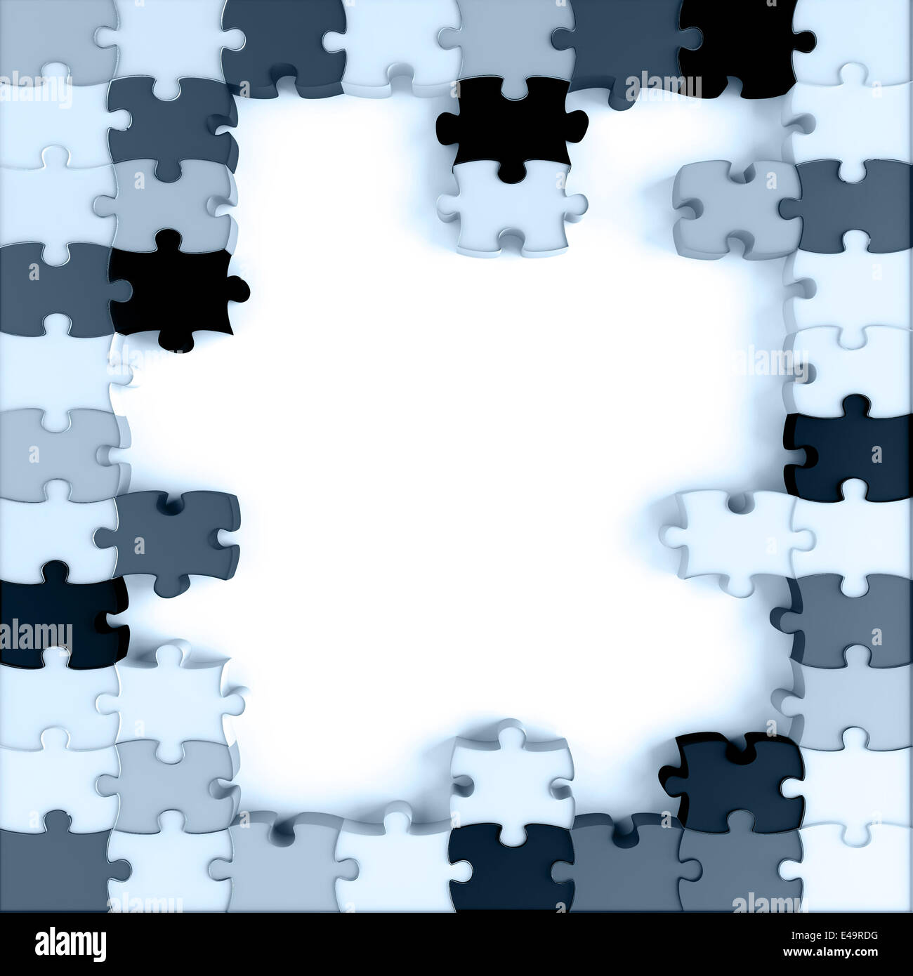 blue toned parts of a puzzle - Stock Image