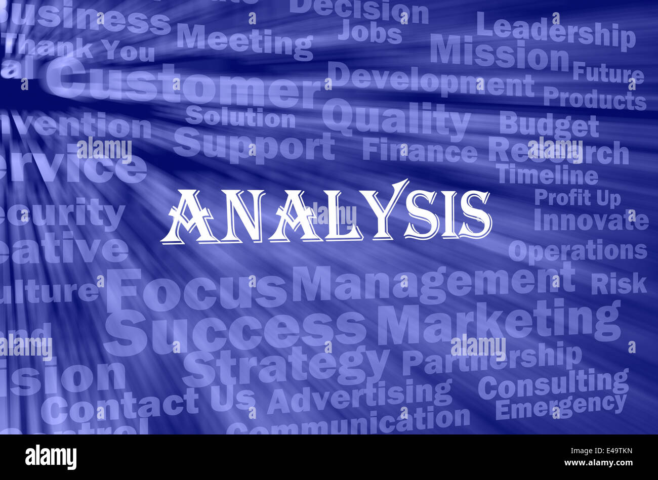 Analysis concept with related words - Stock Image