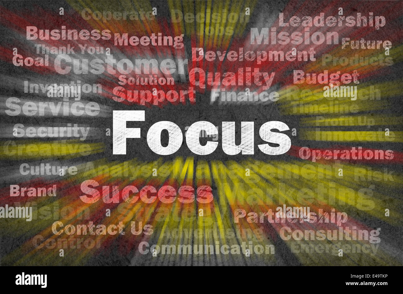Focus concept with other related words - Stock Image