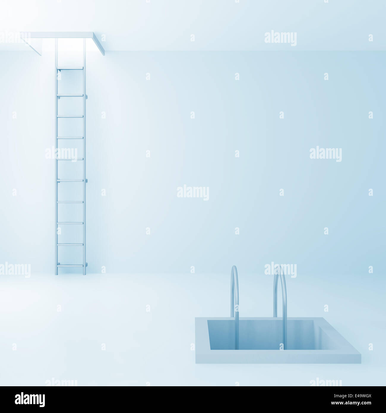 Ladders upwards and downwards - Stock Image