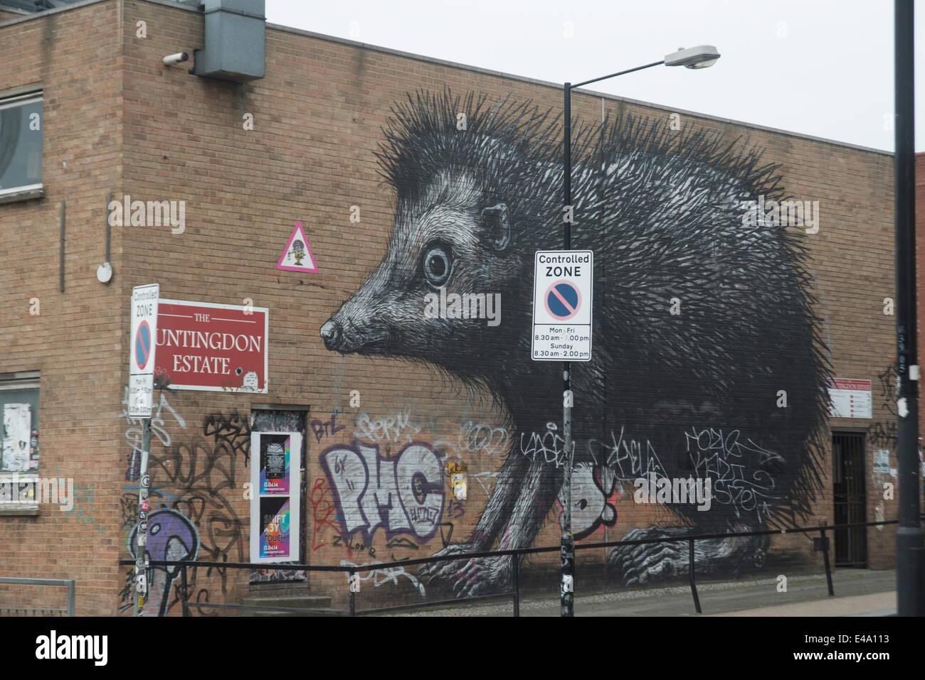 Hedgehog by Roa, Chance Street, London, E1, England, United Kingdom, Europe - Stock Image