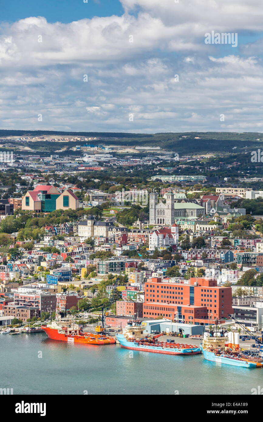 St. Johns Harbour and downtown area, St. John's, Newfoundland, Canada, North America - Stock Image
