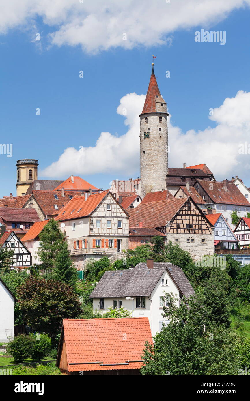 Stadtturm Tower, Half Timbered Houses, Kirchberg an der Jagst, Hohenlohe Region, Baden Wurttemberg, Germany - Stock Image