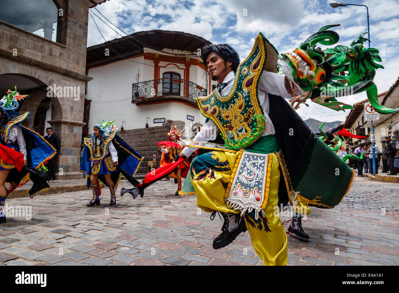 A religious procession, Cuzco, Peru, South America - Stock Image