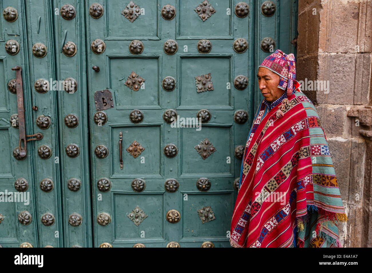 The entrance door to Capilla de San Ignacio de Loyola on Plaza de Armas, Cuzco, Peru, South America - Stock Image