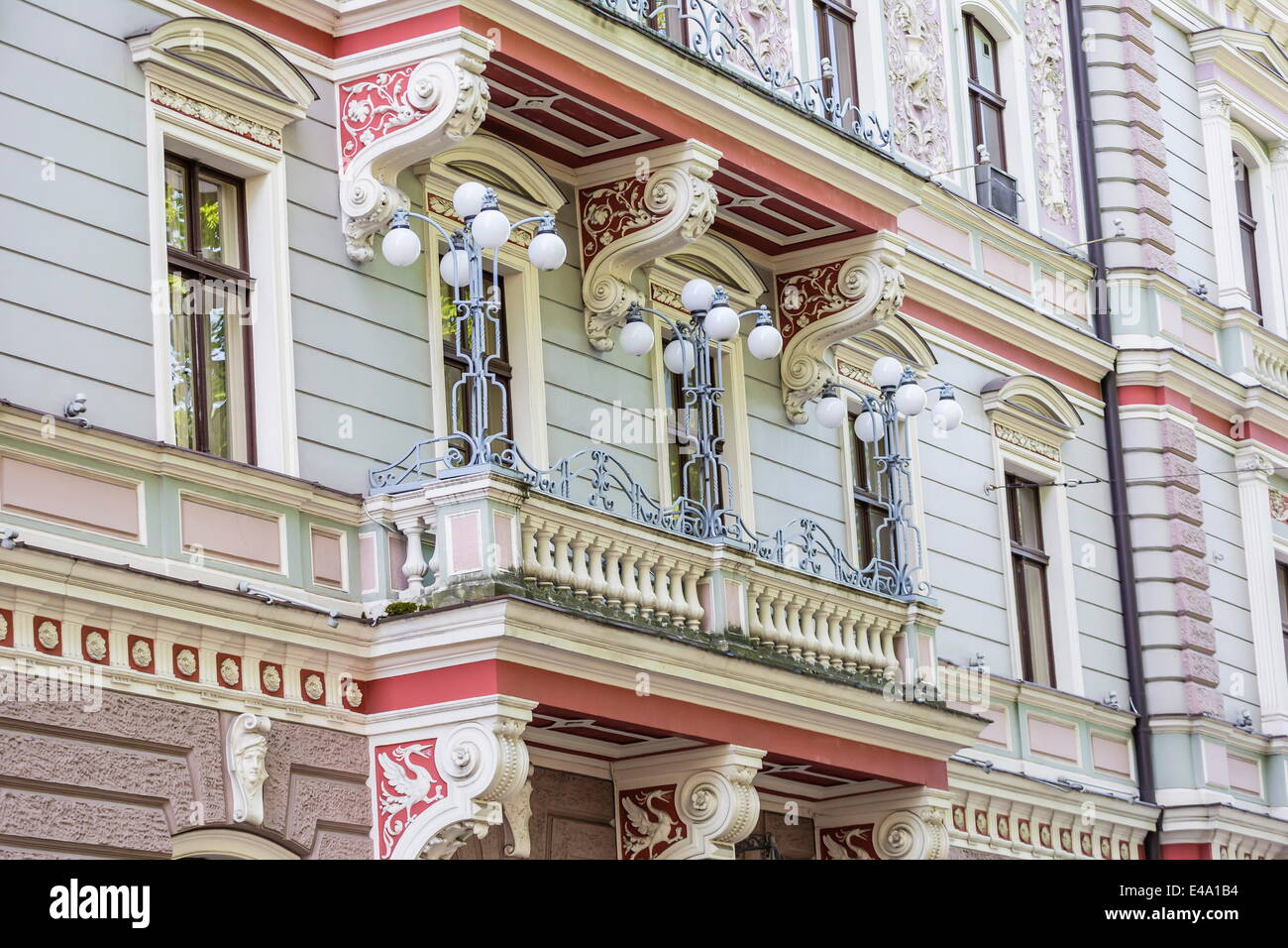 Art Nouveau style architecture locally known as Jugendstil, Riga, Latvia, Europe - Stock Image