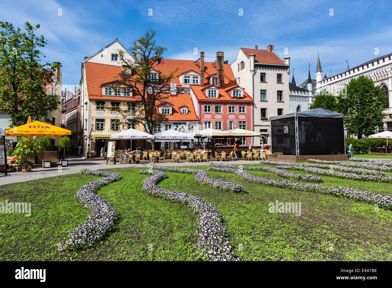Beautiful gardens in downtown home, Riga, Latvia, Europe - Stock Image