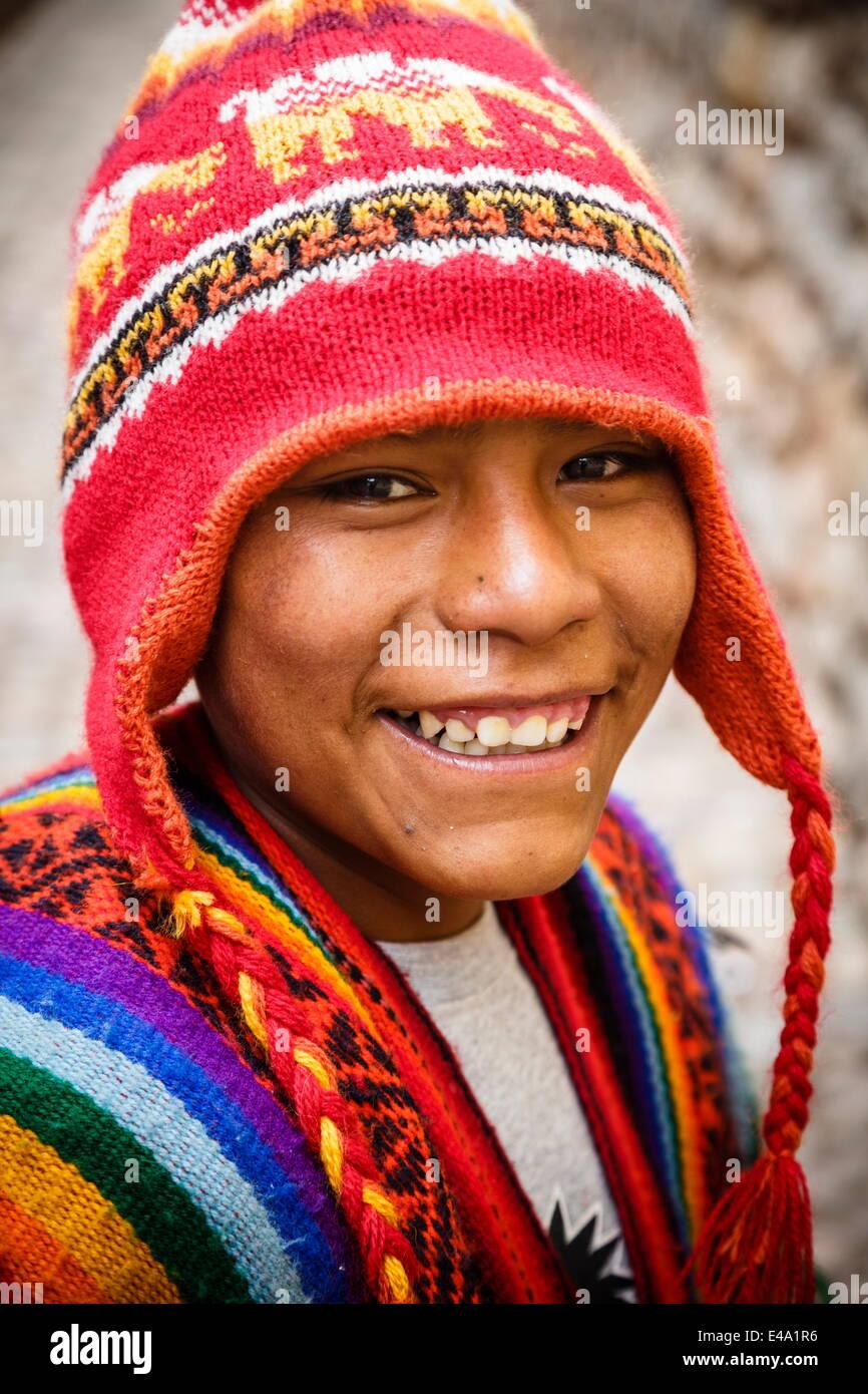 Quechua boy, Cuzco, Peru, South America - Stock Image