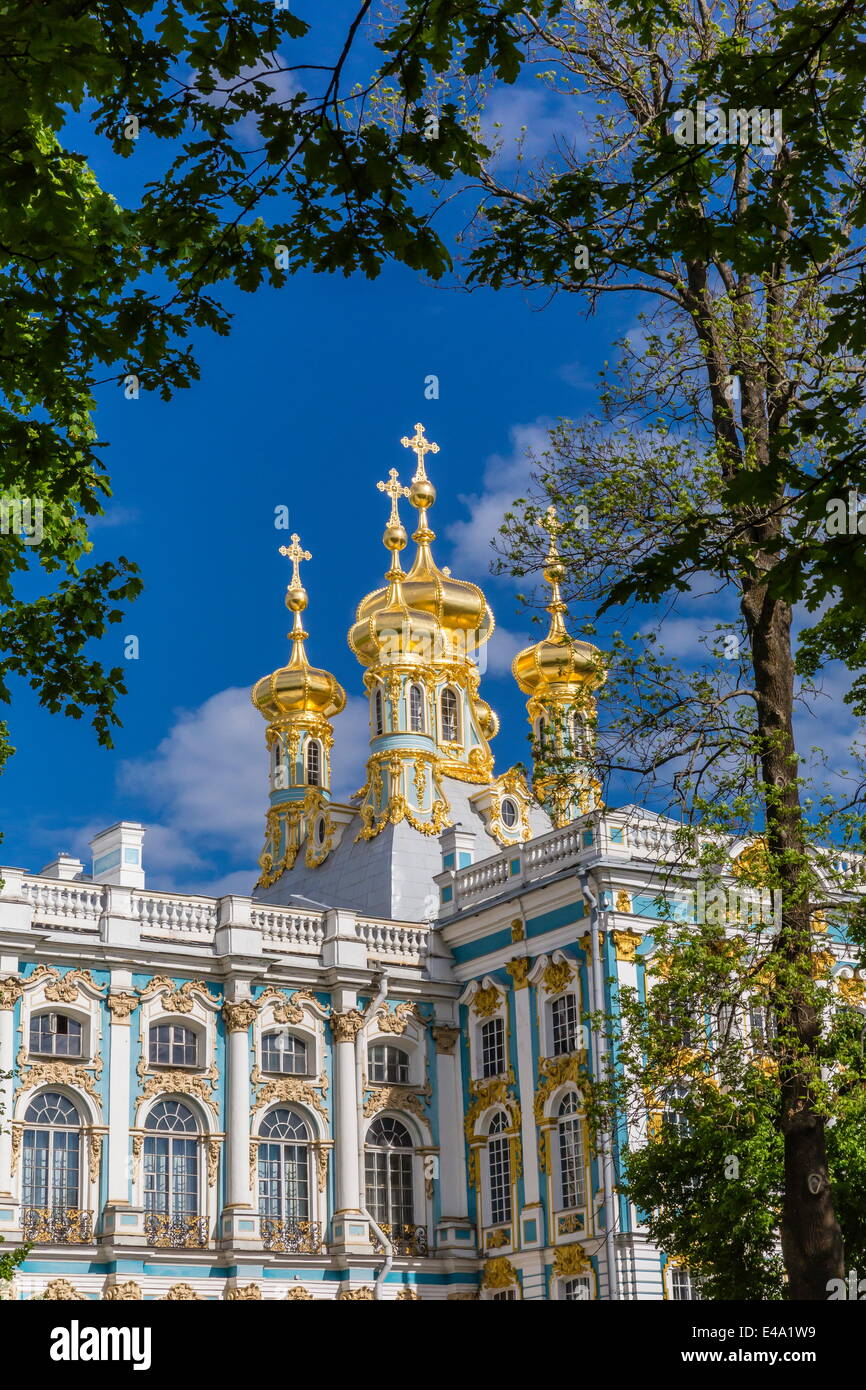 Exterior view of the Catherine Palace, Tsarskoe Selo, St. Petersburg, Russia, Europe - Stock Image