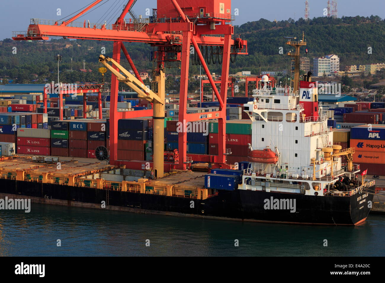 Container ship in Sihanoukville Port, Sihanouk Province, Cambodia, Indochina, Southeast Asia, Asia - Stock Image