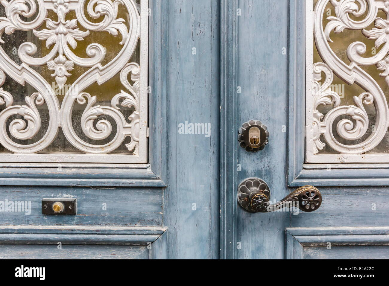 Door detail in the town of Visby, Gotland Island, Sweden, Scandinavia, Europe - Stock Image