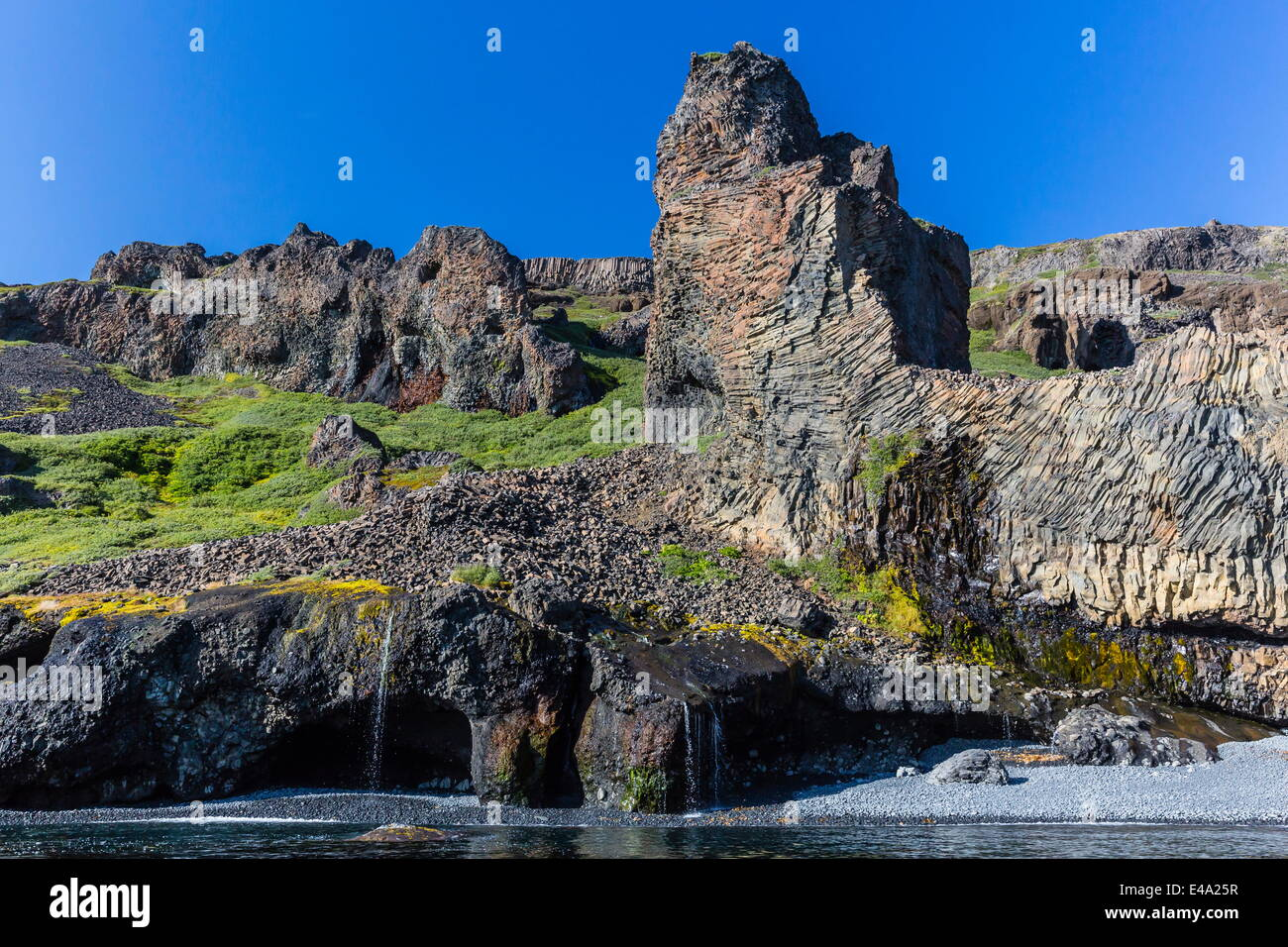 Amazing examples of columnar basalt on the southern coast of Disko Island, Kuannersuit, Greenland, Polar Regions - Stock Image