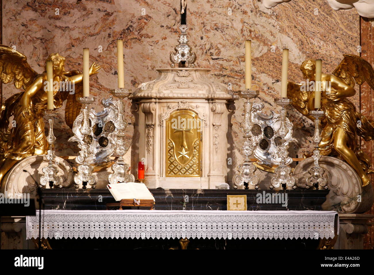Altar and tabernacle, Karlskirche (St. Charles's Church), Vienna, Austria, Europe - Stock Image