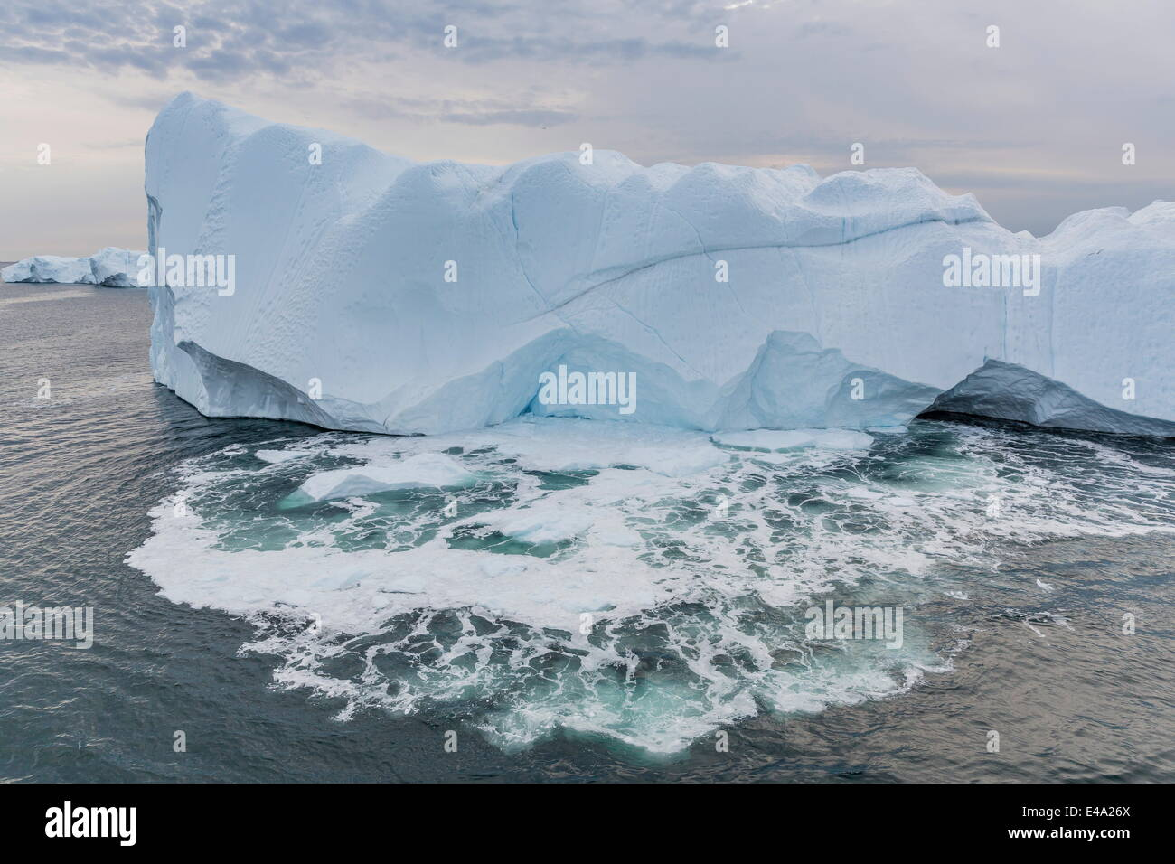 Huge icebergs calving from the Ilulissat Glacier, UNESCO World Heritage Site, Ilulissat, Greenland, Polar Regions - Stock Image