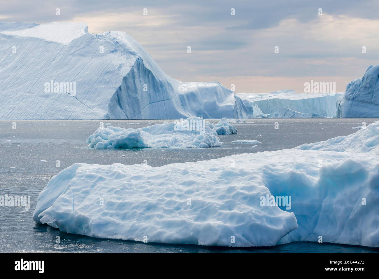 Huge icebergs calved from the Ilulissat Glacier, UNESCO World Heritage Site, Ilulissat, Greenland, Polar Regions - Stock Image