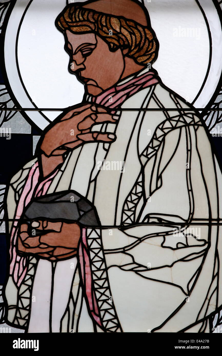 Stained glass by Koloman Moser of Saint Stephen, Am Steinhof church (Church Leopold), Vienna, Austria, Europe - Stock Image